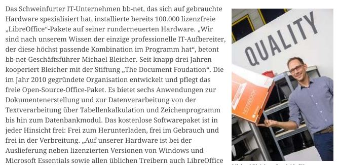 Artikel über lizenzfreie officesoftware bei bb-net