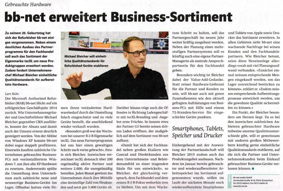 BB-NET ERWEITERT BUSINESS-SORTIMENT