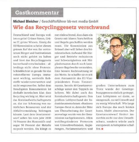Wie das Recyclinggesetz verschwand