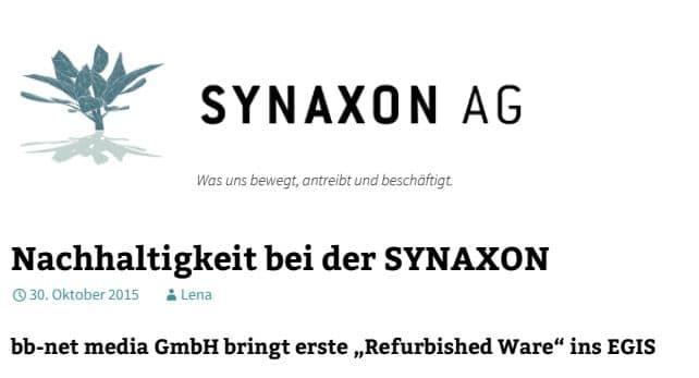 Nachhaltigkeit bei der Synaxon