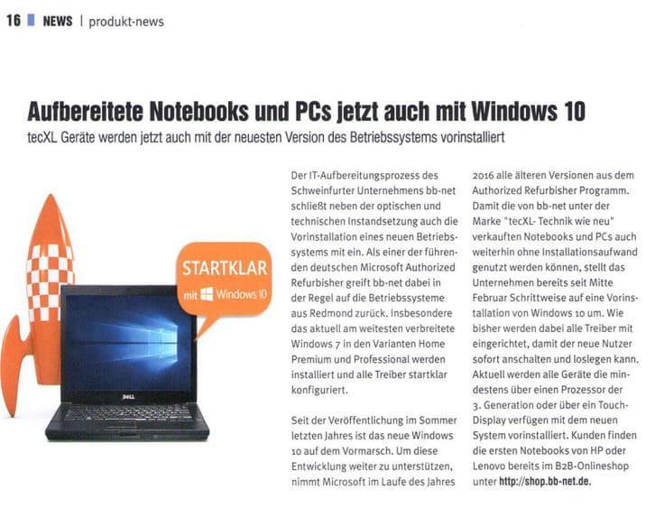 Windows 10 jetzt auf tecXL Geräten