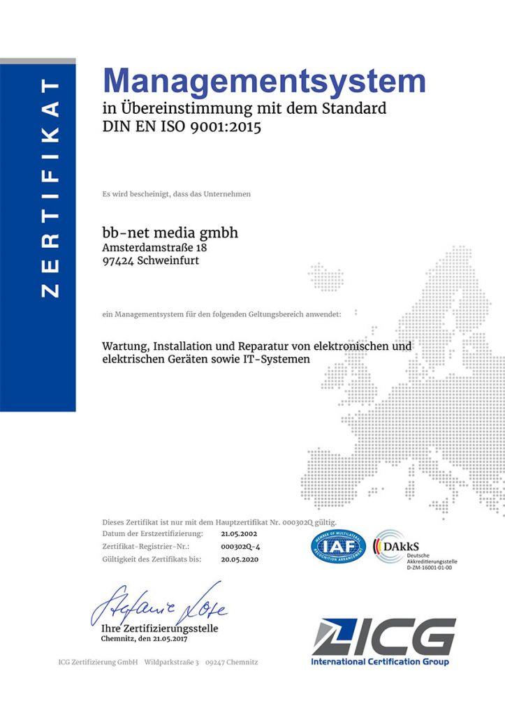 ISO90012015 Zertifikat