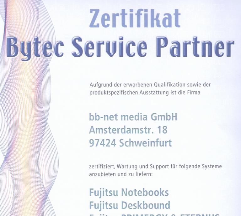 Zertifikat Bytec Service Partner