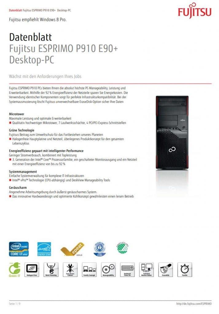 Datenblatt Fujitsu Esprimo P910