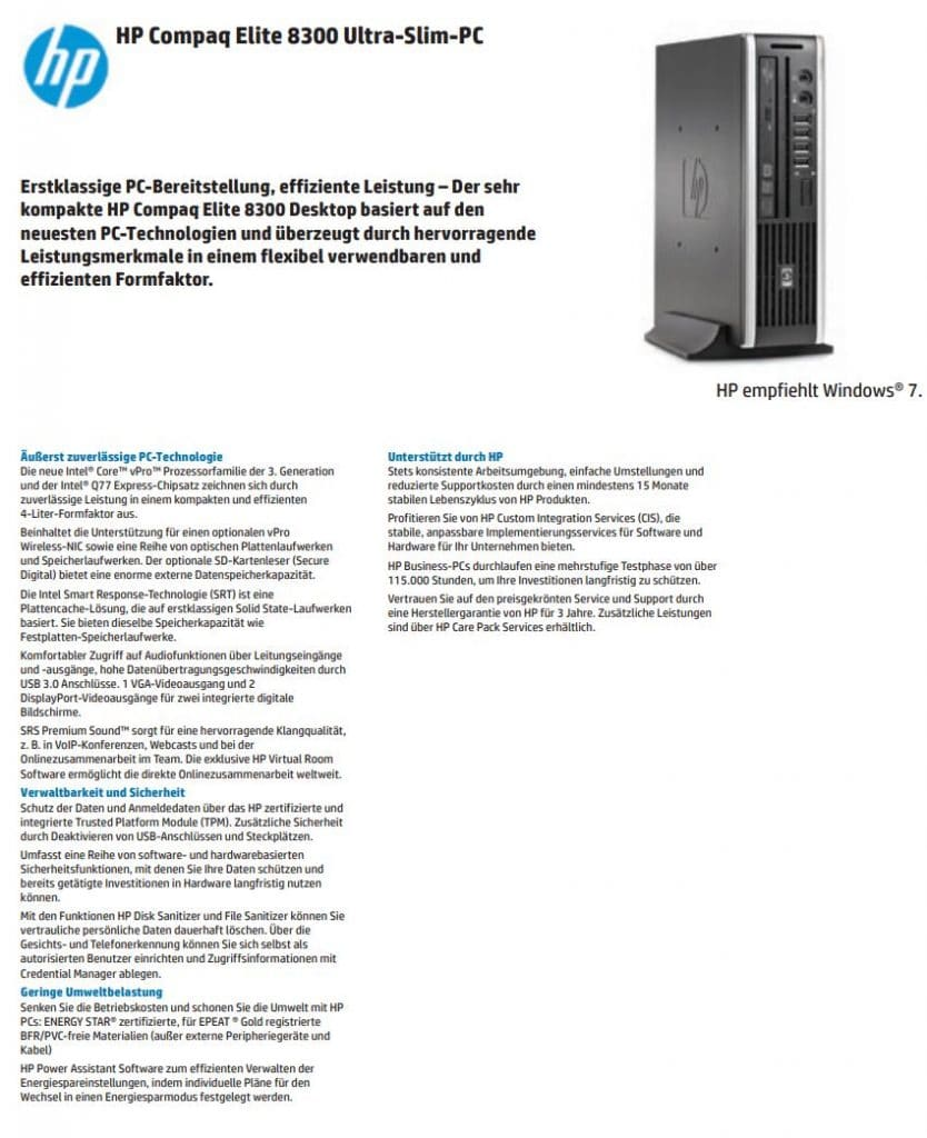 Datenblatt Hp Elite 8300 Usff