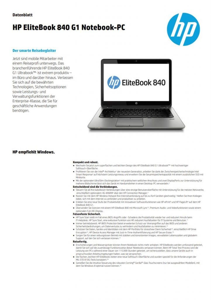 Datenblatt Hp Elitebook 840g1