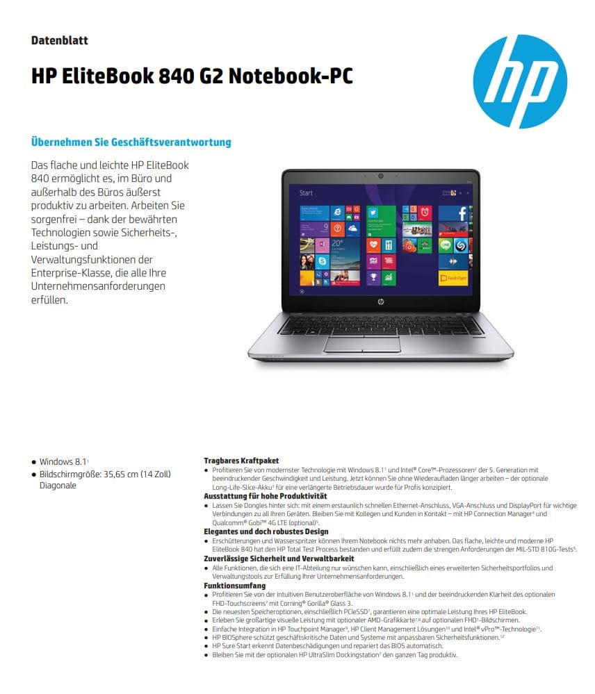 Datenblatt Hp Elitebook 840g2