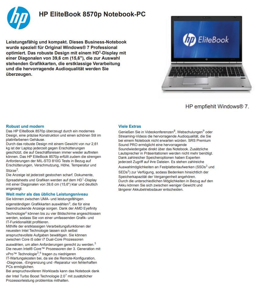 Datenblatt Hp Elitebook 8570p