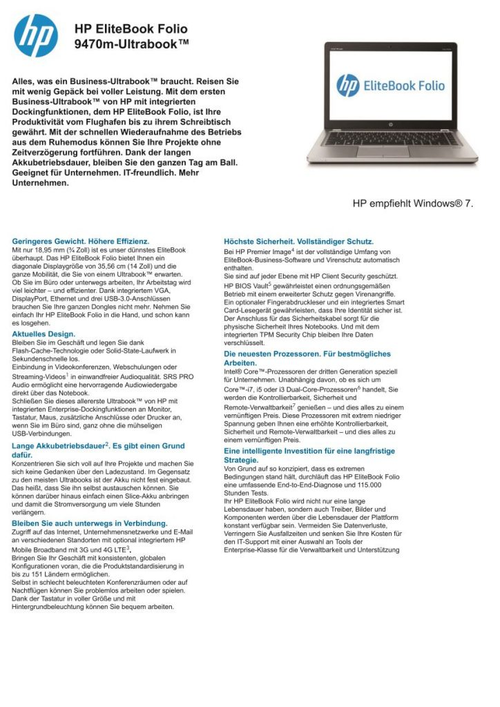 Datenblatt Hp Elitebook Folio 9470m
