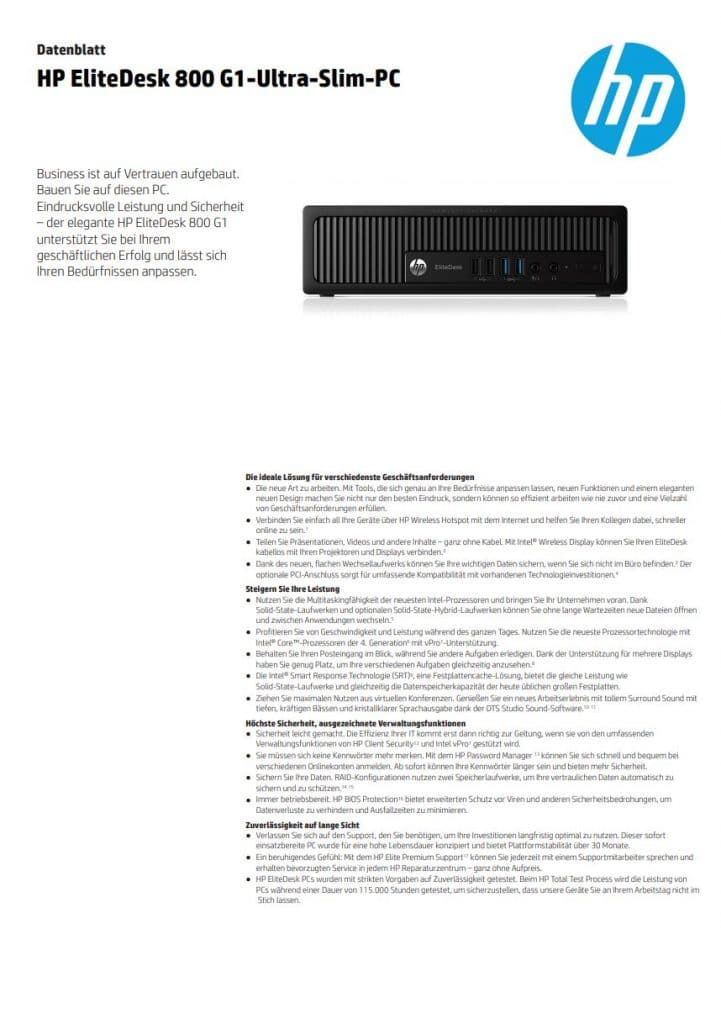 Datenblatt Hp Elitedesk G1 Usff