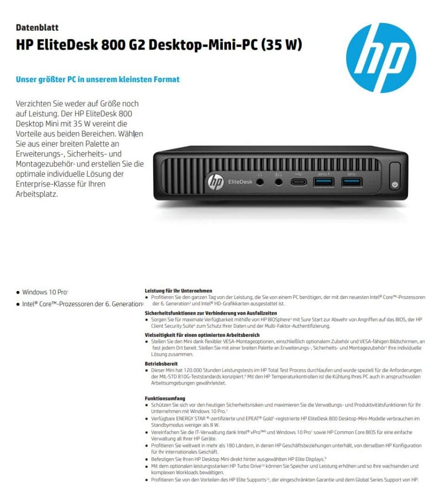 Datenblatt Hp Elitedesk G2 Tiny