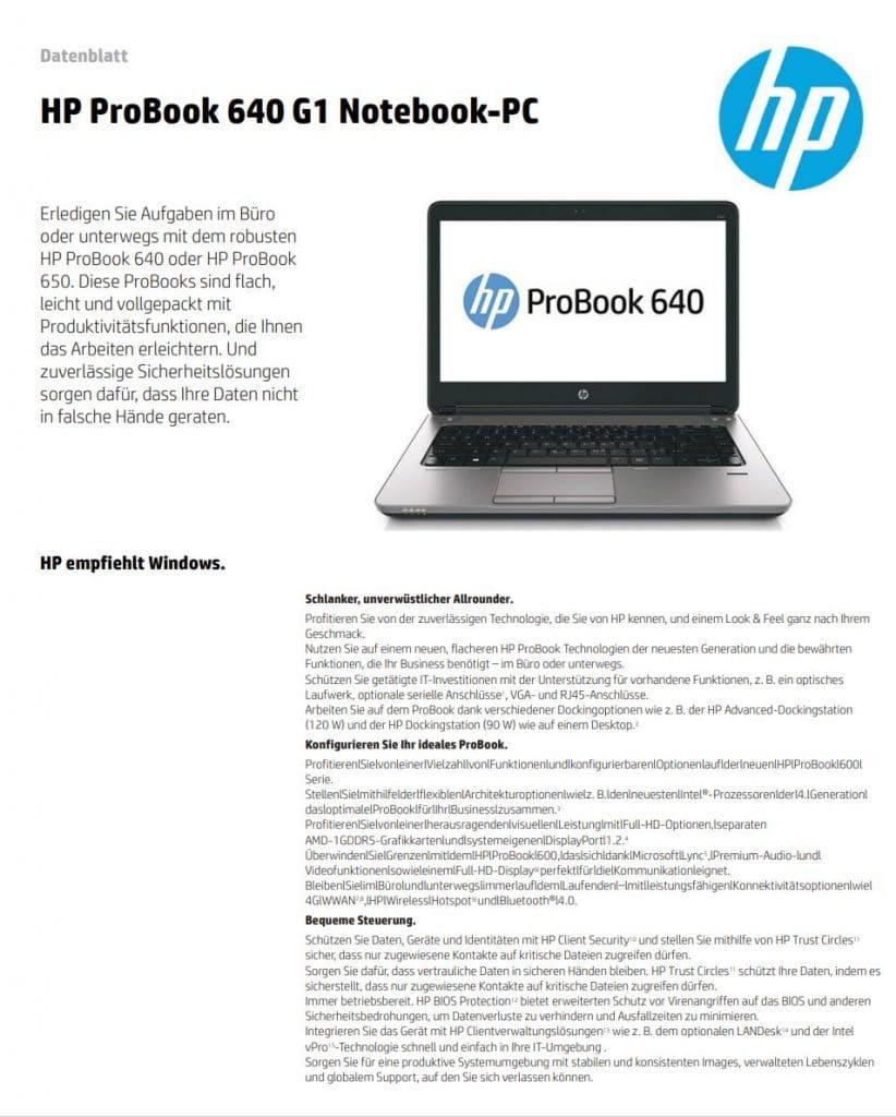 Datenblatt Hp Probook 640g1