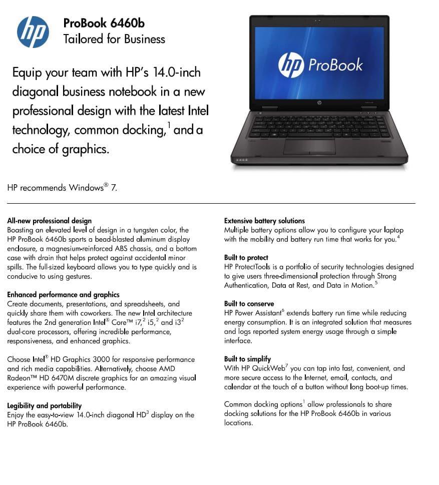 Datenblatt Hp Probook 6460b