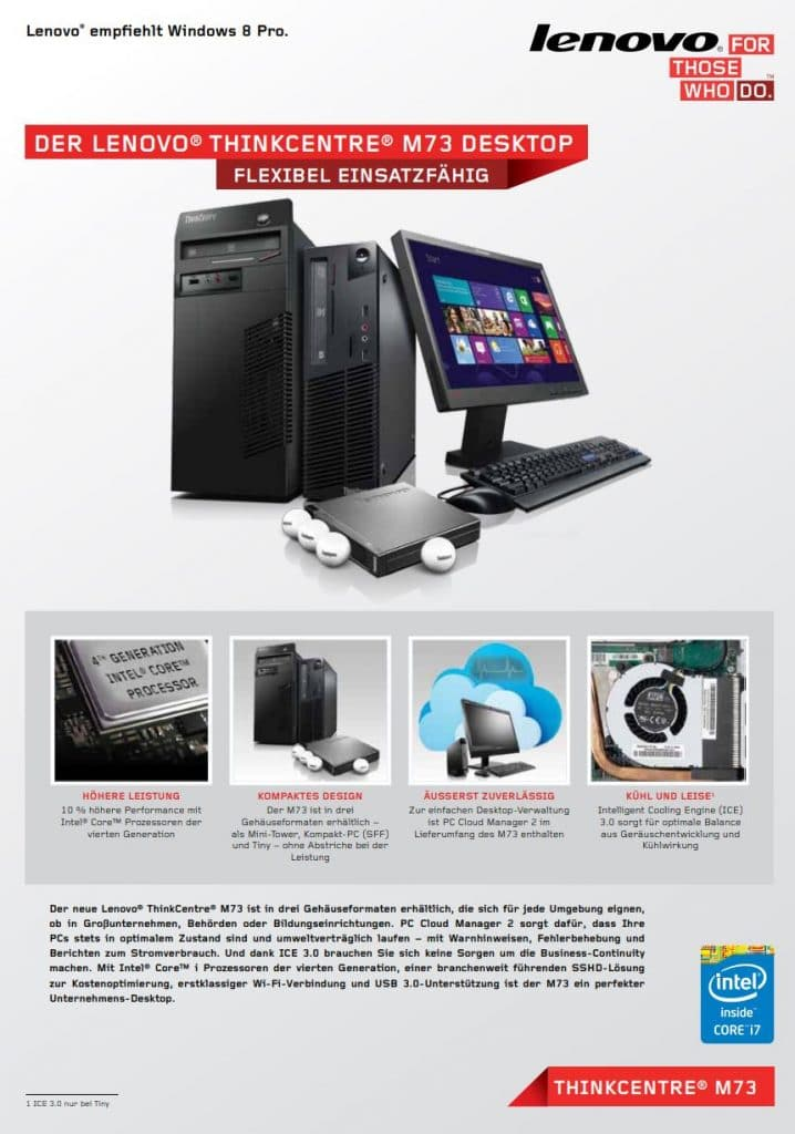 Datenblatt Lenovo Thinkcentre M73 Tiny