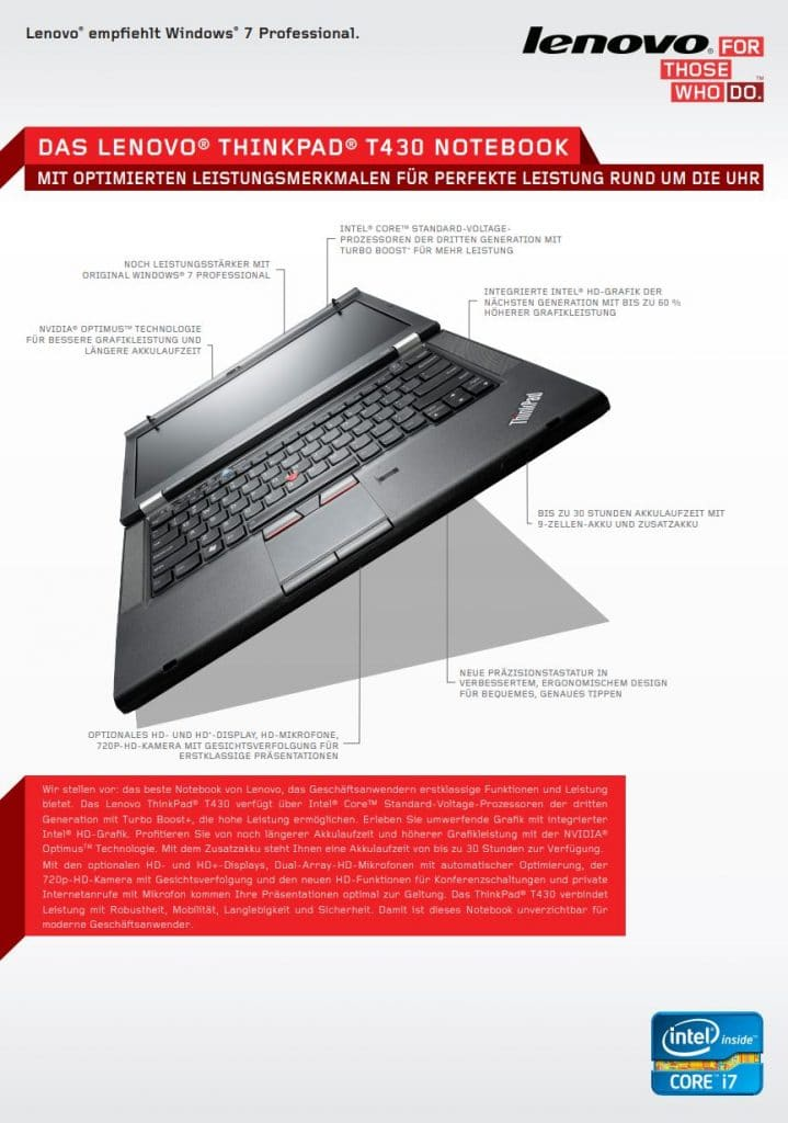 Datenblatt Lenovo Thinkpad T430