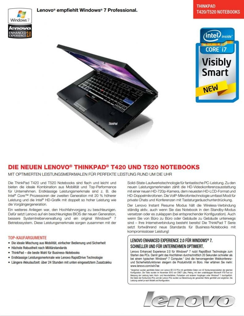Datenblatt Lenovo Thinkpad T520