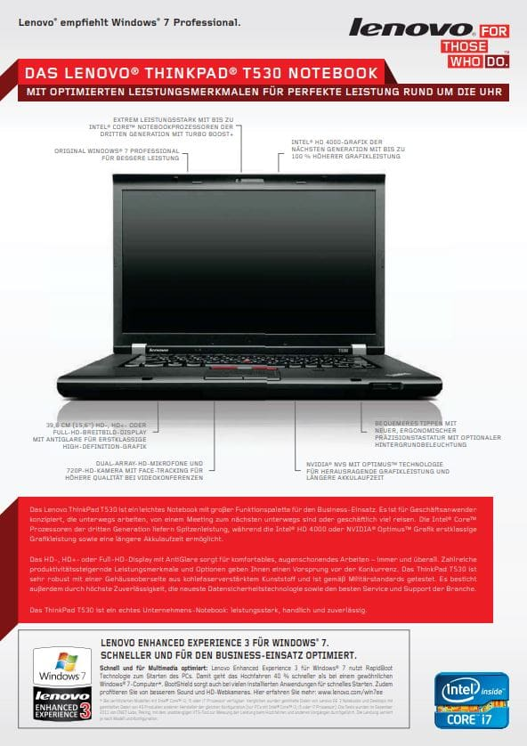Datenblatt Lenovo Thinkpad T530