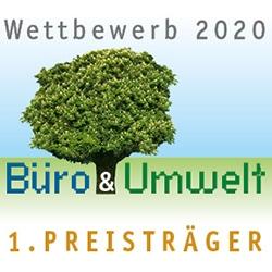 Button Erster Preis Büro & Umwelt Wettbewerb 2020